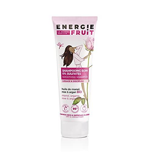 Energie Fruit Shampoing sans Sulfate Monoï/Rose/Huile d'Argan Bio pour Cheveux Secs/Rebelles, Floral, 250 ml