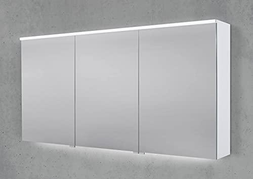Intarbad ~ Spiegelschrank 150 cm integrierte Multi Light LED Beleuchtung Doppelspiegeltüren Anthrazit Matt Lack IB1974