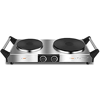 Duxtop Hot Plate, Portable Electric Cooktop Cast Tron Stovetop, Stainless Steel Electric Double Burner with Handles, Adjustable Temperature Control