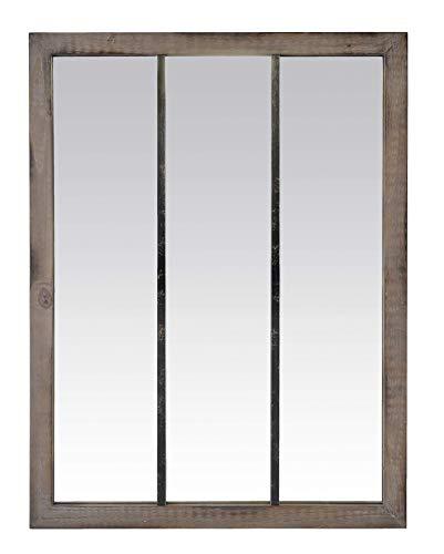 EMDE Miroir Atelier à Bandes en Bois et métal Noir usé, 92x118cm