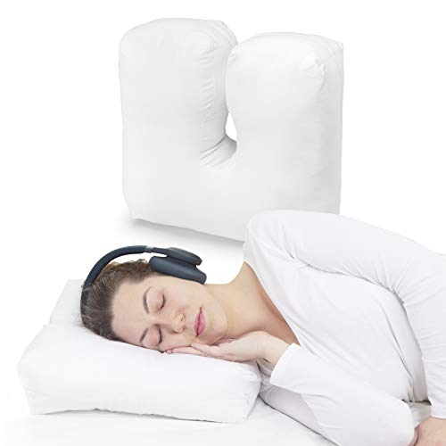 AURILADO Almohada con Agujero para Oreja - Almohada para Auriculares para Dormir de Lado -Almohada para Dormir de Lado- Almohada Oreja- Funda 100% algodón