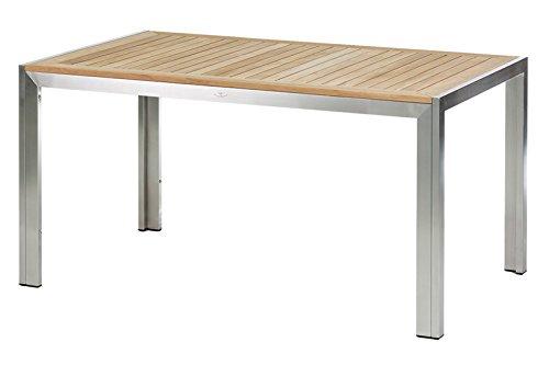 DIAMOND GARDEN Siena Table à manger en acier inoxydable et teck recyclé 150 x 90 x 75,5 cm