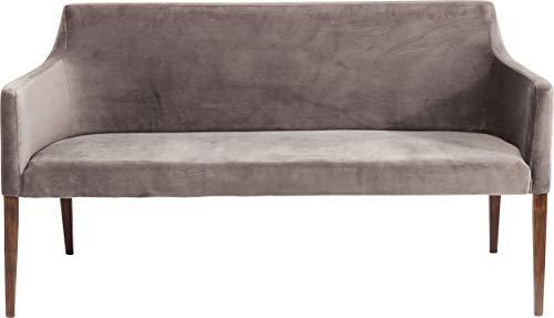 Kare Design Bank Mode Velvet Grau, elegante Esszimmerbank in Samt, weiche Polster - Sitzbank, Grau-Braun, (H/B/T) 88x164x62cm
