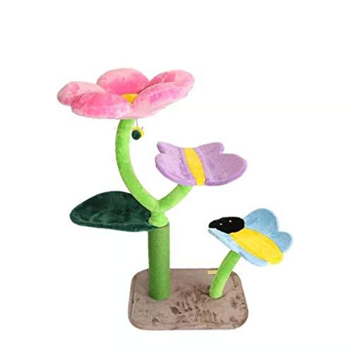 Kratzbaum Kratzbaum Turm Katze Klettergerüst Bequeme Haustier-Activity Center Einzelne Blume Form Mit Sisal Kratz QAF0519 (Color : Multi-Colored)