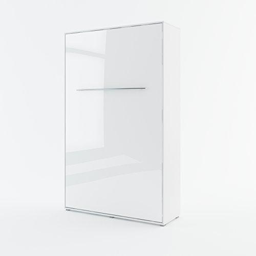 Schrankbett Concept PRO Vertical, Wandklappbett, Bettschrank, Wandbett, Schrank mit integriertem Klappbett, Funktionsbett (120 x 200 cm, Weiß/Weiß Hochglanz)