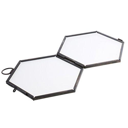 MagiDeal Glas Hexagon Bild Rahmen Foto Rahmen Hängen Rahmen - schwarz, 8.8 x 8.5cm