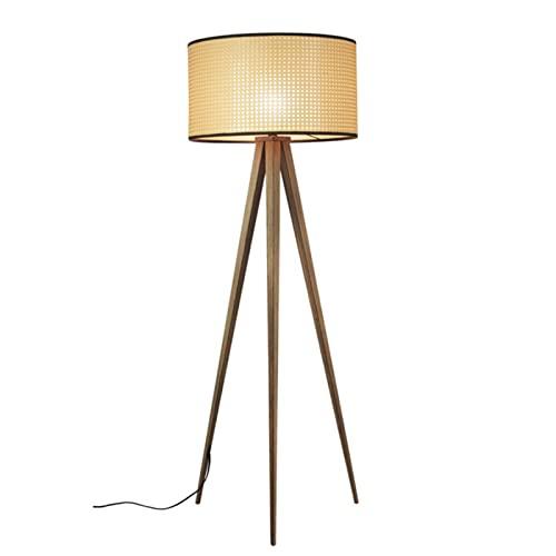 HXJU Lámparas de trípode de pie, lámpara de pie de ratán, luz de Lectura para Sala de Estar, Dormitorio con Pantalla de ratán, trípode de Madera