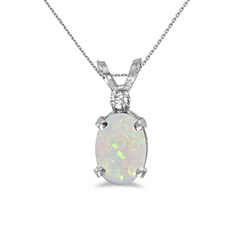 14k White Gold Oval Opal And Diamond Pendant with 18' Chain