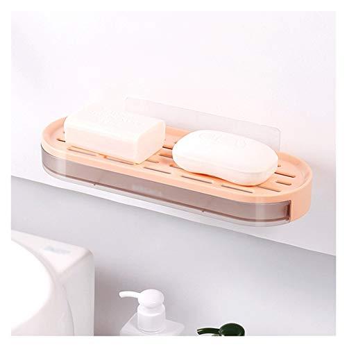 Jaboneras Holder Soporte de jabón de ventosa del baño, caja de jabón de plástico de pared de gran capacidad con orificios de drenaje, jabonera con contenedor de agua tipo cajón Bandeja de jabón