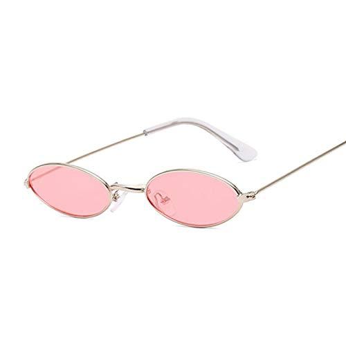 ShZyywrl Gafas De Sol Gafas De Sol De Espejo Ovaladas Pequeñas para Mujer, Gafas De Sol Redondas para Mujer, Rosa Plateado