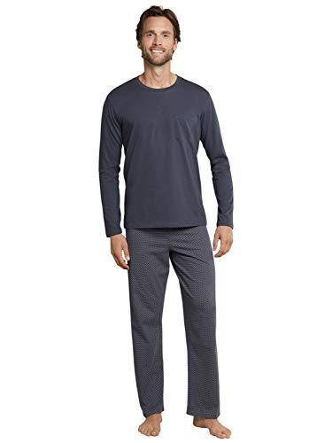 Schiesser Herren Schlafanzug lang Rundhals, Grau (Anthrazit 203), 52 ( Herstellergröße: 52/L)