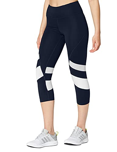 Amazon Brand - AURIQUE Leggings deportivos capri con paneles para mujer, Azul (Navy/white), 34, Label:XXS