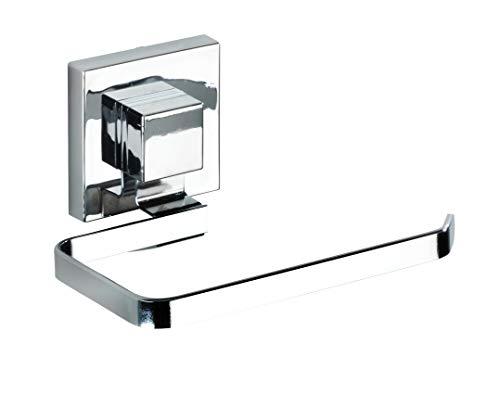 WENKO Vacuum-Loc Wand Toilettenpapierhalter Quadro, Halterung für Toilettenpapier im Badezimmer und Gäste-WC, Anbringung ohne Bohren, rostfreier, glänzender Edelstahl, 14 x 6 x 11 cm