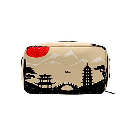 Bolsa de cosméticos para mujeres y niñas Trave bolsa de maquillaje neceser bolsa accesorios organizador retro japonés sol montaña árbol paisaje