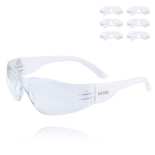 Safety Glasses for Men and Women - KAYGO Eye Protection,KG501, Lightweight Protective Eyewear, Polycarbonate Impact Resistant Lens, Pack of 6 (6, Clear)