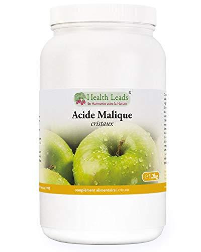 Acide malique en poudre 1,2kg, Qualité alimentaire premium, Convient pour la vinification et le brassage amateur, Sans stéarate de magnésium et additifs nocifs