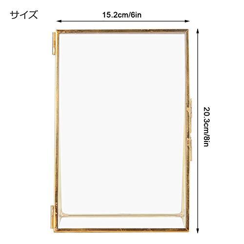 フォトフレーム真鍮写真立てスタンドタイプ透明写真フレーム卓上展示ピクチャー絵画賞状真鍮レトロガラスメタルデスクトップフォトフレームブラケット銅ストリップメタルフォトフレーム(15.2x20.3cm)