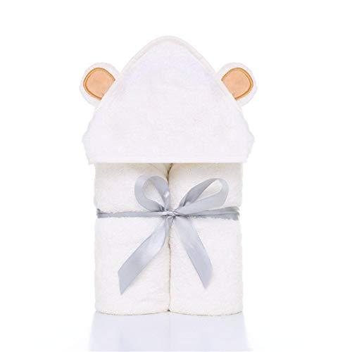 Toalla de baño con capucha de bambú para recién nacidos y bebés pequeños, suave, gruesa, absorbente, 90 x 90 cm, toallas de baño con capucha con orejas