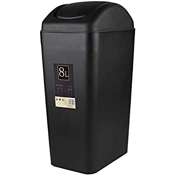 Abuff Small Lidded Trash Can 8 Liter/2 Gallon Small Black Plastic Trash Can Garbage Bin with Lid for Office Bedroom Bathroom