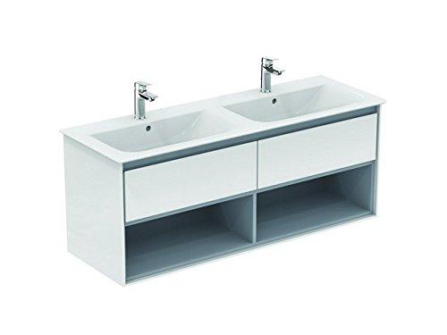 Ideaal Standaard CONNECT Air-meubels dubbele wastafel, 1300 mm, 2 lades, E0831, Kleur: Bruin mat/wit mat - E0831VY