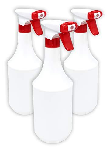 3x Sprühflasche 1 Liter / 1000 ml mit Schaum Düse - Leer ohne Label - Premium Qualität - 1l groß nachfüllbar Spray Bottle Fein Zerstäuber für Reinigungsmittel