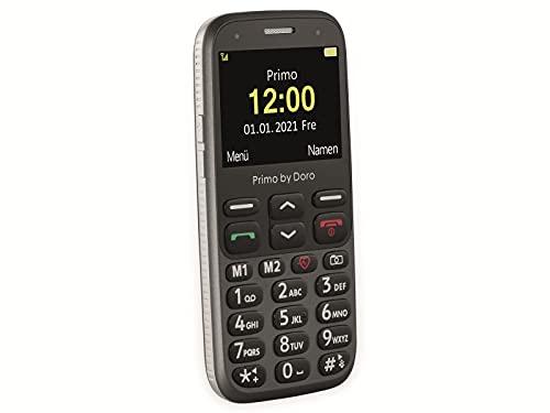 Primo 368 by Doro GSM Mobiltelefon mit froßem Farbdisplay, Fallsensor, Taschenlampe, FM-Radio, Kalender, inkl. Tischladestation, Graphit, 360084