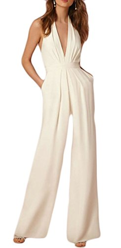 JXG-Mujer Sexy Halter Amplio Pata Palazzo sin Mangas Deep V-Neck Backless Jumpsuit Romper,  Blanco, L