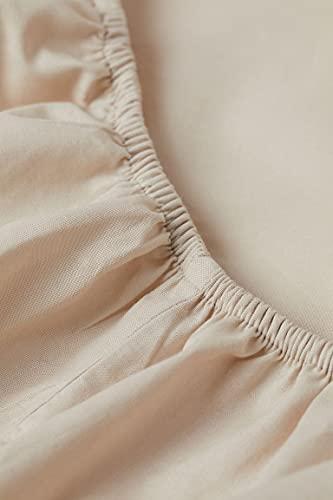 Exotic Cotton Sábana Bajera Ajustable 100% Algodón - Bajera con Goma Elástica para Colchón - Suave y sin Pérdida de Color Tras Lavado (Beige Oscuro, Cama de 180/200)
