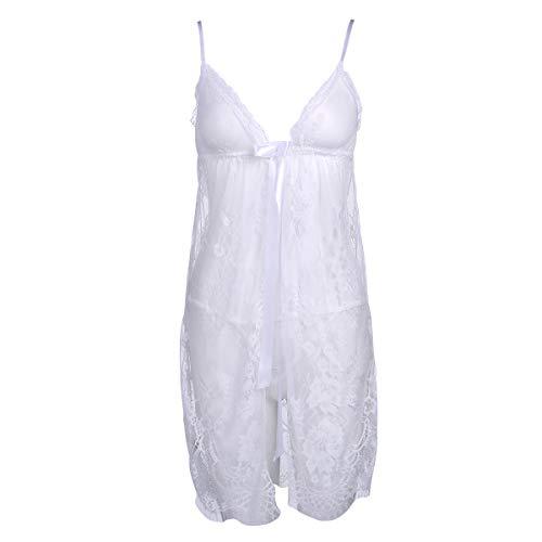 Mujeres Sexy Lencería Encaje Ver A Través Floral Sling Cardigan Lace Dress+Sexy Tanga Ropa interior Ropa de dormir, blanco, XL