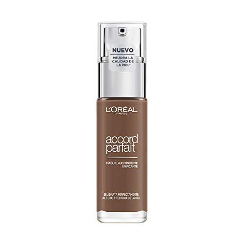 L'Oréal Paris Accord Parfait, Base de maquillaje acabado natural con ácido hialurónico, tono piel oscuro 10N, 30 ml