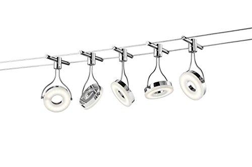Trio Leuchten LED Seilsystem Rennes 774110506, Metall, Kunststoff chromfarbig / weiß, 5 x 3.8 Watt