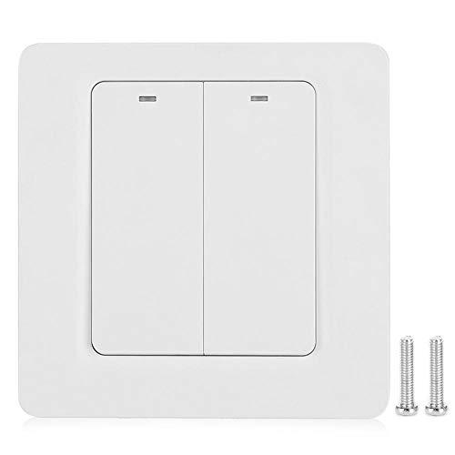 On-Wall Smart Light Swtich, AC110-240V 10A 2-weg licht schakelpaneel LED-achtergrondverlichting Ondersteuning voor Alexa/voor Google Voice Control/voor Tuya App Externe elektrische lichtschakelaars