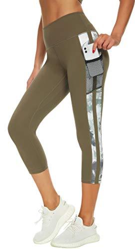 Neonysweets Pantalones de yoga para mujer impresos para entrenamiento activo Leggings elásticos, Bolsillos de malla-avellana (75% poliéster/25% elastano), M