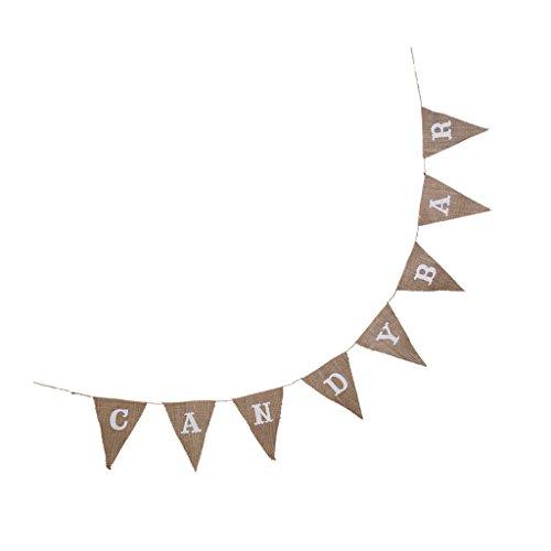 Bandera Pavese yute asta Decoración Fiesta Boda rústico cumpleaños–Candy Bar