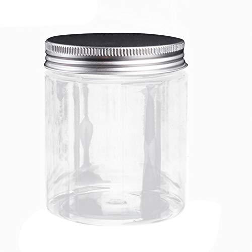 ShunFuET Kosmetische Leere Flasche Glas, runder Aluminiumdeckel Lippenbalsam Make-up Abfüllbox, Kunststoff Leere nachfüllbare Creme Gesichtsmaske Lotion Behälter Kosmetikgläser Topf mit silbernem