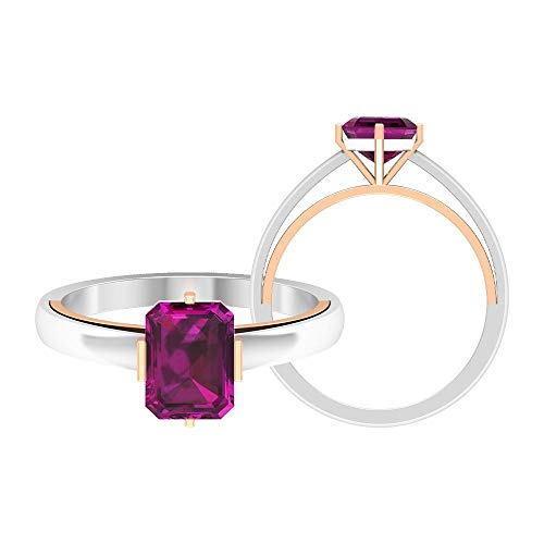 June Birthstone - 6X8 MM Octagon Cut Rhodolite Ring, Solitaire Engagement Ring, Gold Two Tone Ring (AAA Quality), 14K Rose Gold, Size:UK X