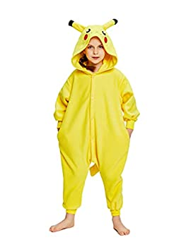 NEWCOSPLAY Unisex Kids Pikachu Pajama Halloween One-Piece Costume  Yellow 6 Years 6_years