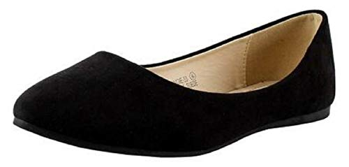 Bella Marie Angie Women's Pointy Toe Slip On Classic Ballet Flats Black 8.5