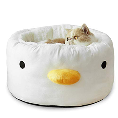 Lovely Chick Pet Cat Bed, Cashmere Breathable Pet Basket with Winter Keep Warm and Non-Slip Bottom, Can Take Apart and Wash