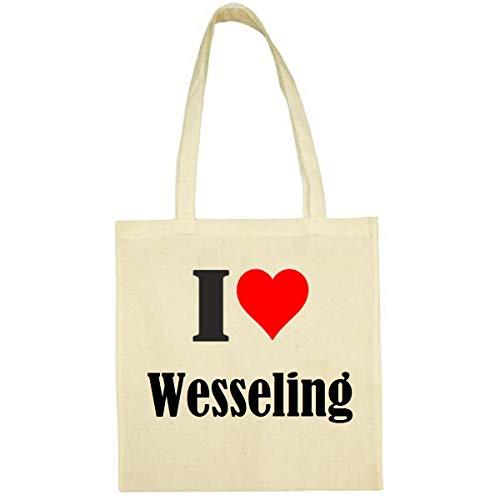 Tasche I Love Wesseling Größe 38x42 Farbe Natur Druck Schwarz
