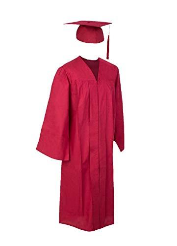 Robe Academicus Komplett-Set: akademischer Talar aus Baumwollmischware + Doktorhut mit Quaste und Jahrgangszahl; Farbe: Bordeau-rot, Gr. L/XL