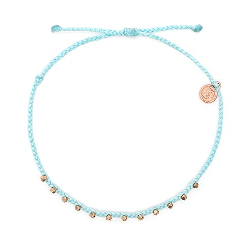 Pura Vida Rose Gold Stitched Beaded Anklet Ice Blue - Waterproof, Artisan Handmade, Adjustable, Threaded, Fashion Jewelry for Girls/Women
