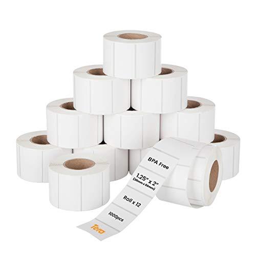 TERA Etichette per Spedizioni da 30 x 50 mm, 1000 Etichette X 12 Rotoli = 12.000 Etichette per Varie Stampanti Senza BPA Adesive Permanenti per Indirizzi con Adesivi con Etichette Fragile Gratuite