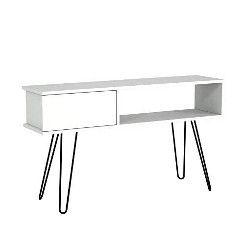 Alphamoebel 4804 Lara TV Board Lowboard Fernsehtisch Fernsehschrank Sideboard, Fernseh Schrank Tisch mit Metallfüßen für Wohnzimmer, Holz, Weiß, Designertisch, 120 x 29,5 x 68,5 cm