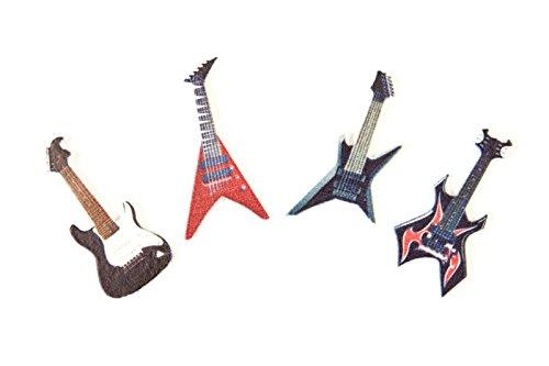 Unbekannt Streudeko aus lackiertem Holz Mini Gitarren für Musikfans, Gitarristen & Rocker - Inhalt 8 Stück pro Verpackungseinheit - Grösse pro Element 4cm