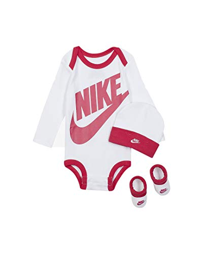 Nike Baby Long Sleeve Bodysuit, Hat and Booties 3 Piece Set (Rush Pink(LN0134-A9P)/White, 6-12 Months)