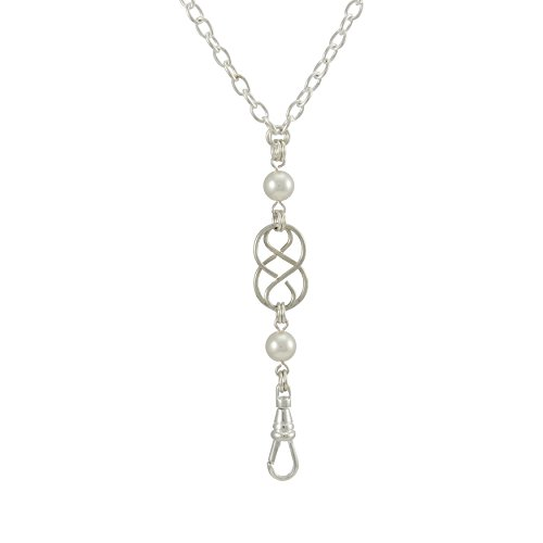 Brenda Elaine Jewelry Women's Fashion Lanyard Necklace ID Badge Holder, 32 Inch Silver Chain with Silver Celtic Knot and White Pearl Pendant & No Rear Clasp