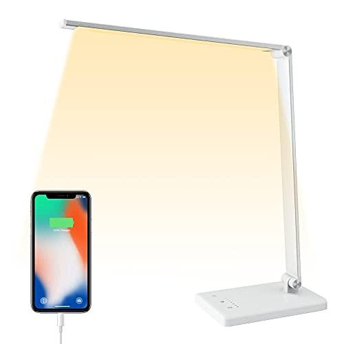 Lámpara Escritorio LED, 5 * 10 Modos de Brillo con 52SMD dimmer Protege a ojos luz de Mesa USB Recargable 2000mAh Plegable Flexo de Escritorio sin cable Control táctil, Temporizador y Memoria Función