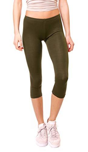 Easy Young Fashion Damen Basic Sommer Jersey Capri 3/4 Leggings Leggins Unterzieh Hose Kurz Baumwolle Stretch Einfarbig Uni One Size Khaki