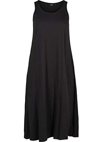 Zizzi Damen Jersykleid Ärmellos Loose Casual 7/8 Langes Kleid Große Größen 50-52 Schwarz
